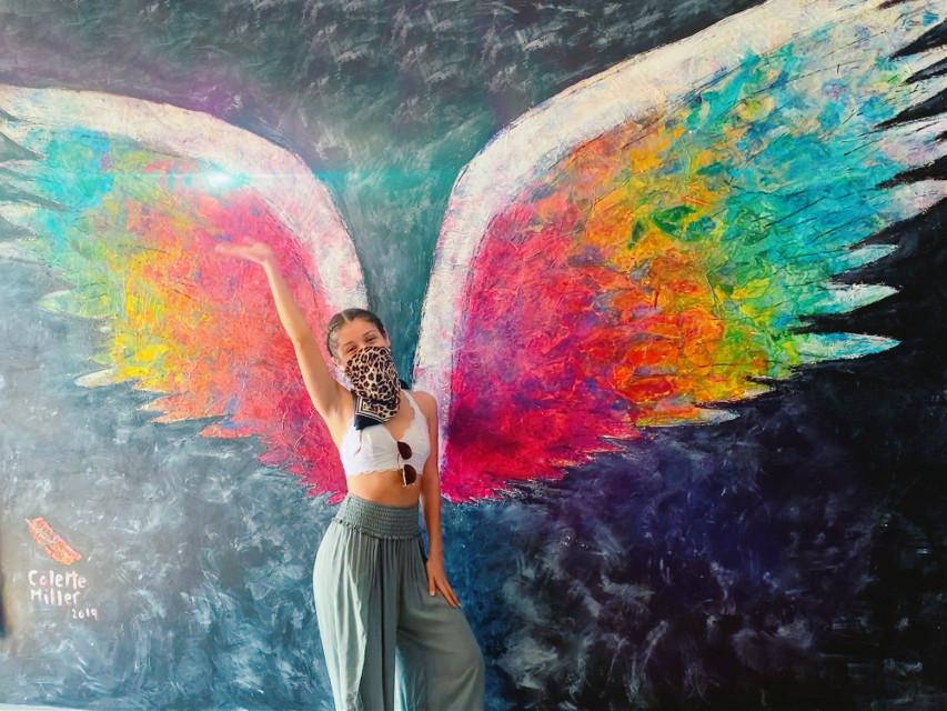#freespirit #love #wings #vegan #brewery #losangeles #art #mural #facemask #2020 #lensflare #fuckit #clonetool #after #edit