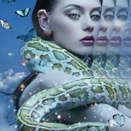 girl snake butterflies beautiful nice rcmotioneffect freetoedit