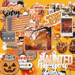 pumpkin halloween hallowseve halloweentown orange yellow ghost white cute spooky scary season fall autumn leaves spookyseason skeletons spookyscaryskeleton spookyscaryskeletons shiver spine bones picture frame glow freetoedit