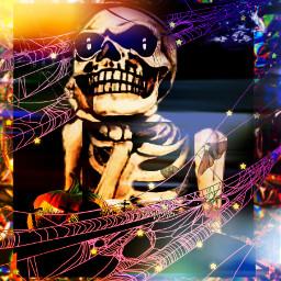 skeleton digutalart muticolors sundhine lights spiderwebs scary funny myart freetoedit