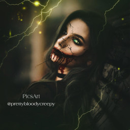 photography fantasy fx makeup gothic pretty bloody creepy horror scary reptile myedit donotremix donotsteal girl glowingeyes dark lightning effects green crackedface evil blood witch halloween2020