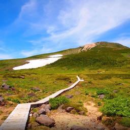 freetoedit japan bluesky sunnyday hills walkway woodenwalkway nature gifumountains villageoutskirts shirakawago