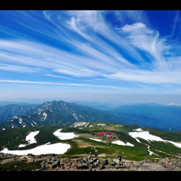 freetoedit japan bluesky sunnyday clouds snow grass hills mountains smalltown housing gifumountains meltingsnow