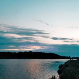 sunset evening river sky clouds nature beautifulnature myphoto heypicsart picsartmaster freetoedit