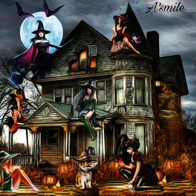 #@asweetsmile1 #halloween #witch #candy #woman #cat #blackcat #spooky #background #blendedimages #sticker