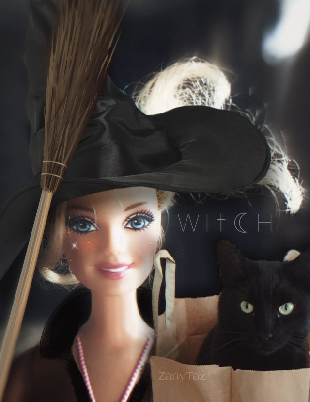 Witch Please! 🎃🔥😁 #HappyHalloween #barbie #witch #blackcat ready for #trickortreat #witch #witchhatsticker #stickers #filters #blur #photomaniplution  using @jcervay pic. 🌟🎃🔥💕#freetoedit
