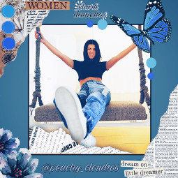 charlidamelio charli blue aesthetic blueaesthetic butterfly flower paper ripped rippedpaper jeans circle swing rope newspaper quote freetoedit