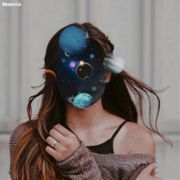 galaxy black blue space planets gilters fx filtered pretty girl surreal surrealism blackhole freetoedit