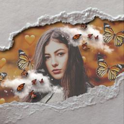 girl woman women brunette butterfly butterflies orange cloud clouds pretty aesthetic edit art picsart paperrip rip paper white pic effects interesting rcrippedpaperaesthetic rippedpaperaesthetic freetoedit