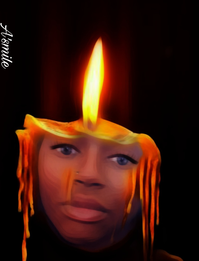 #@asweetsmile1 #candle #surreal #surreality #blendedimages #blend #portrait #africanart #cute