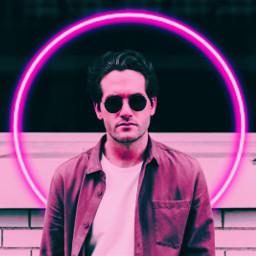 cyber neon cicle man boy glasses effect freetoedit interesting photography portrait sticker picsart remix art