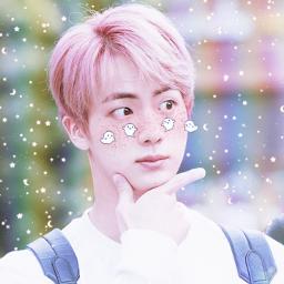 seokjin jin pink aesthetic kawaii cute freetoedit