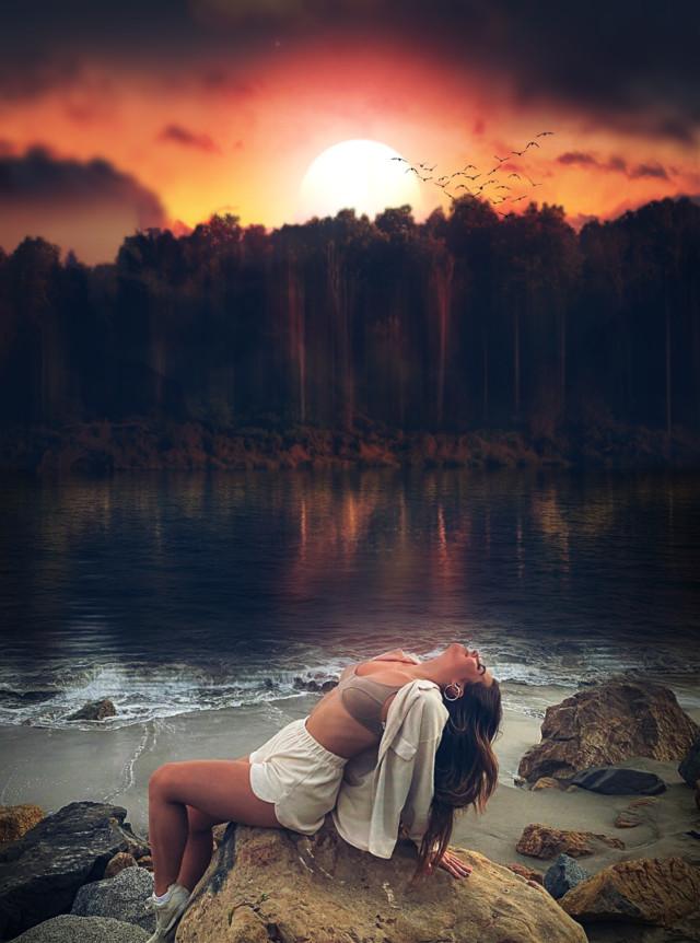 Relax😄   #freetoedit #fantasy #sunset #madewithpicsart #madebyme #makeawesome #heypicsart #myedit #landscape #nature #water #sky #aracelisss