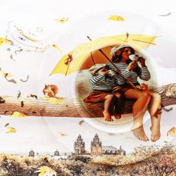 teatime motheranddaughter yellowumbrella birds ircacupoftea freetoedit