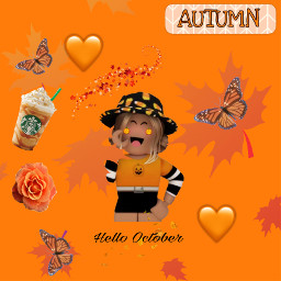 fall fallvibes vibez roblox robloxcharacter robloxgirl autumn starbucks leaves orangeasthetic orange asthetic freetoedit