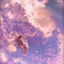 fantasy surreal swing pinksky inthesky