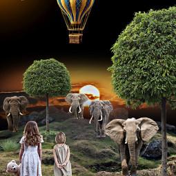 elephant balloon kidsart imaginary night freetoedit