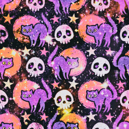 freetoedit glitter sparkle galaxy cats kittens skulls sky stars pattern halloween holiday moon night aesthetic cute kawaii background overlay wallpaper