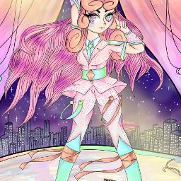 rainbow stars pink sparkles anime