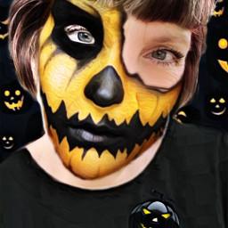 halloween pumpkin orange jackolantern colorful photography selfie mask faces face selfietime artisticselfie freetoedit