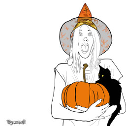 freetoedit outlineart outline yourstocolor witch costume orange pumpkin kitty blackcat colorit billee brujita hexe oktober october