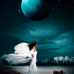 madewithpicsart moon sky dark night women surreal freetoedit