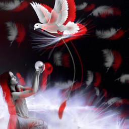 replay heypicsart makeawesome aesthetic surreal bird girl freetoedit