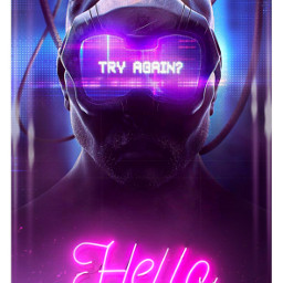 hello try tryagain robot futuristic lights colors fluorescent neon freetoedit ecneonsign neonsign