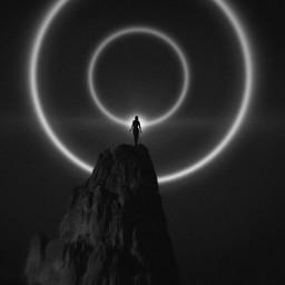 blackandwhite simplestyle plain black dark darkness light mountain freetoedit