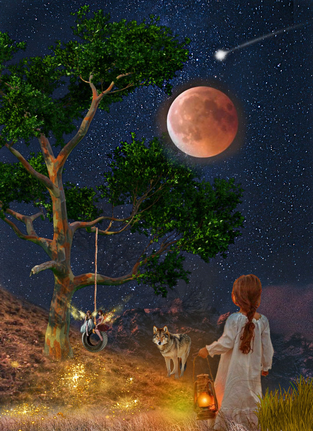 GOOD NIGHT🌙🌠💋💋 #goodnight #night #country #universe #fullmoon #moon #stars #littlegirl #light #fairy #wolf