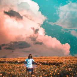 sky heaven clouds moon field flowersfield garden woman colorful brightcolors imagination creative fantasy awesome madewithpicsart background amazing papicks magic myedit remixit freetoedit
