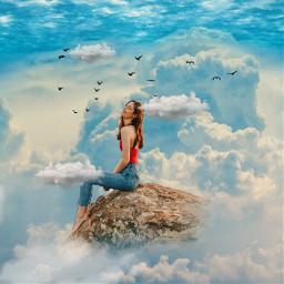 clouds rocks sittinggirl air freetoedit