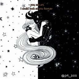 love couplelove blackandwhite stars black