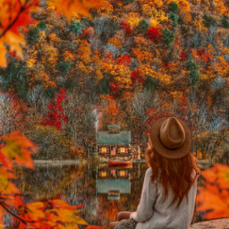 autumn otoño fall orange autumnvibes leaves red lake cabin watching freetoedit