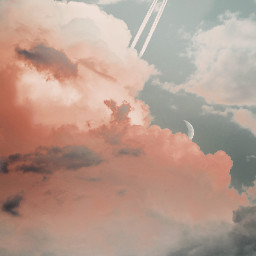 plane clouds moon rosaclouds background backgrounds freetoedit remixit