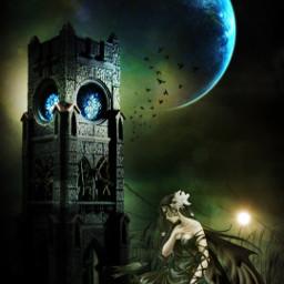 picsart surreal earth birds fantasyart beautifuledit creative interesting clouds moon girl remixit remixed freetoedit