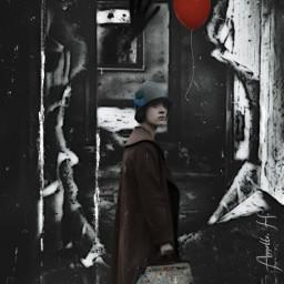 last scaryhouse woman alone fear redballoon blackhand freetoedit