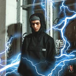 freetoedit парень молния пиксарт синий неон boy flash picsart blue neon
