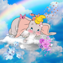 dumbo cute elephant mariposas❤ freetoedit mariposas