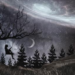 blackandwhite moon galaxy night beautiful freetoedit