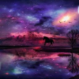 galaxy world horse moon stars cosmic freetoedit