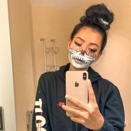 freetoedit tiktok bellapoarch makeup halloween girl scary halloweenspirit scarf spider love aesthetic