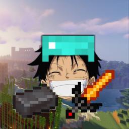 minecraft anime luffy onepiece profilepic japan armor paladium diamand netherite sword ingot freetoedit