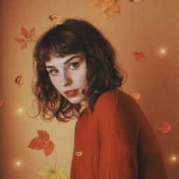 autumn spookyseason october fall leaves orange red girl freetoedit