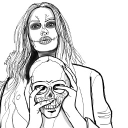 sketch halloween skull witch happyhalloween outline outlineart drawing sketchdrawing illustration colorme makeawesome becreative freetoedit