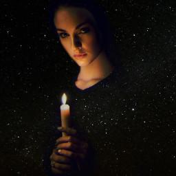 woman night galaxy candle freetoedit