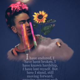 fridakahlo myedit background unibrow_queen tears wisdom experience frida freetoedit