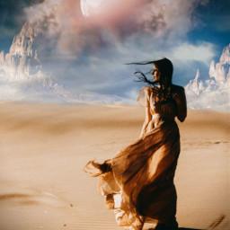 freetoedit desert myedit editedbyme madewithpicsart woman araceliss sky fantasy makeawesome