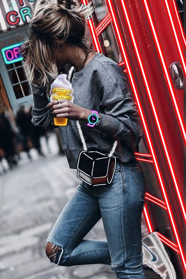 #girl #neonlines #neonsign #neon #icecream #icecreamstore