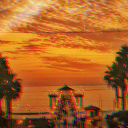 freetoedit beach pier sunset ocean heaven glitch photography picsart